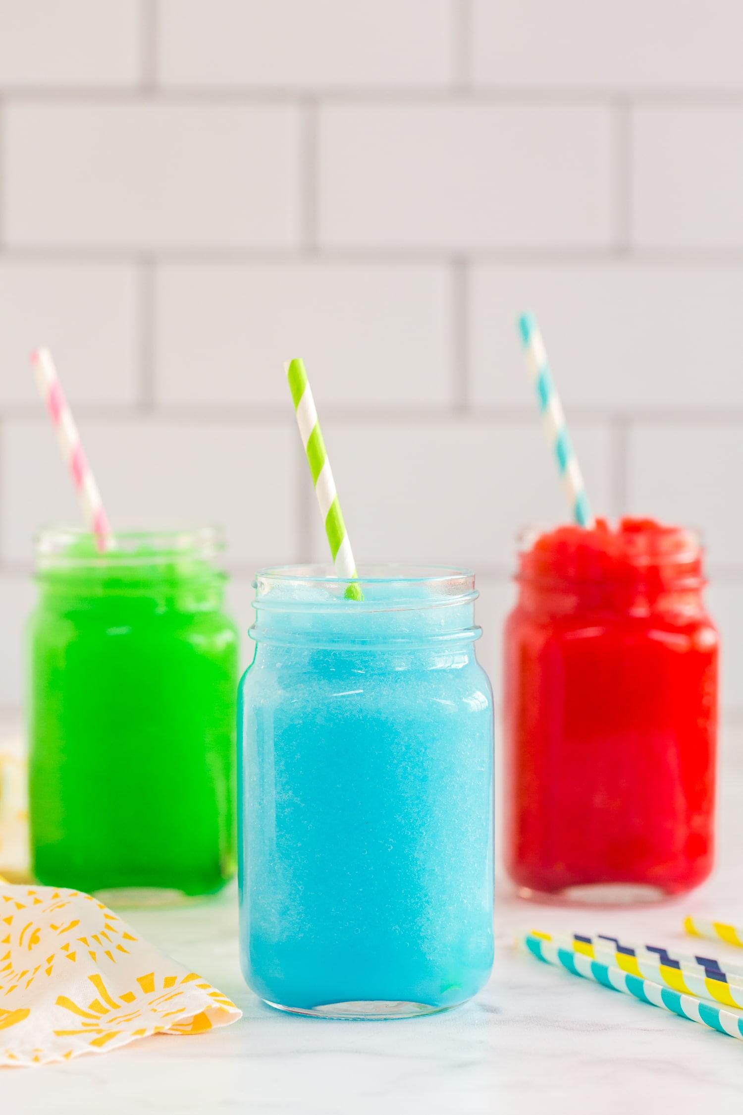 Kool-Aid Slushies: green, blue and red