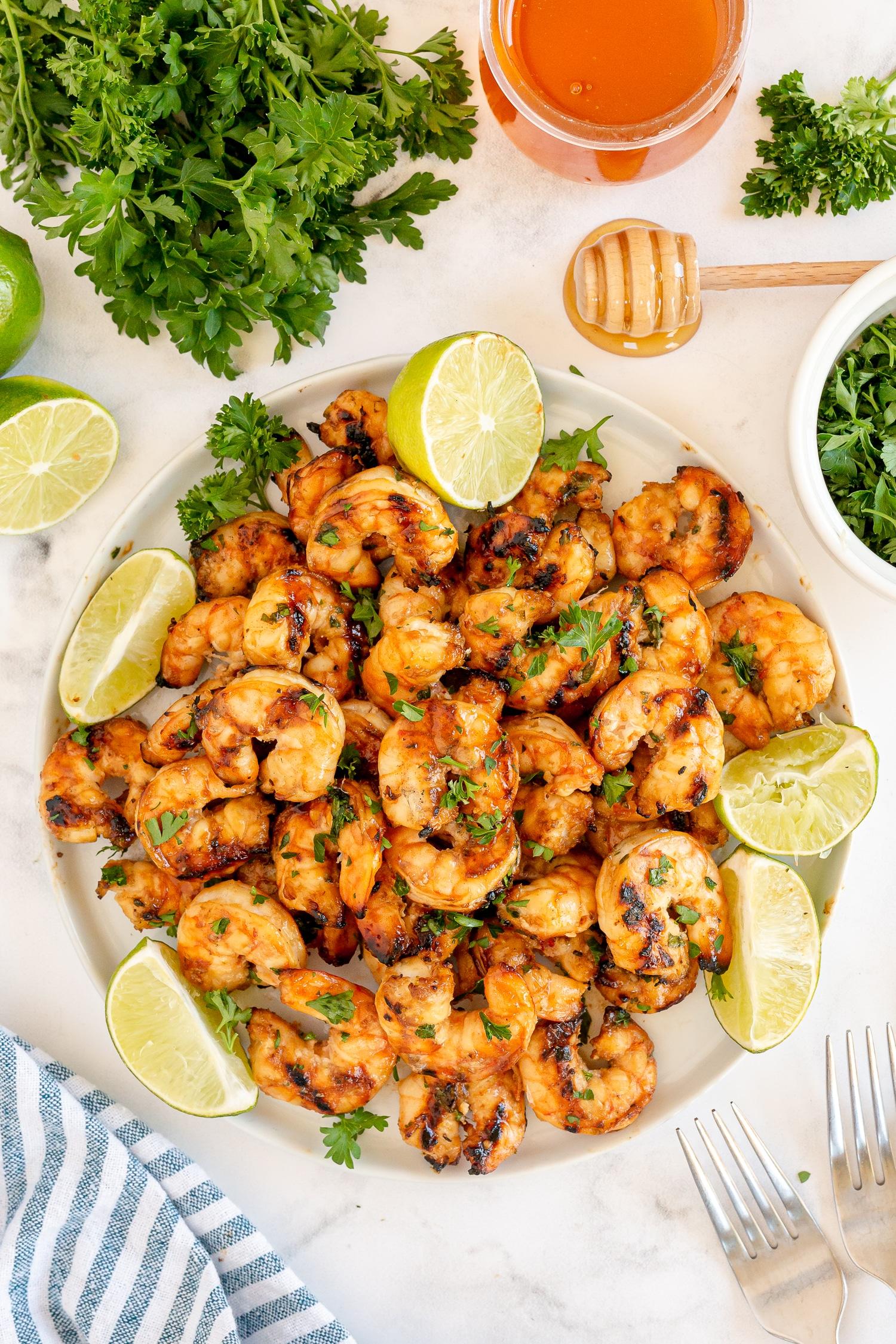 garlic honey shrimp on white plate