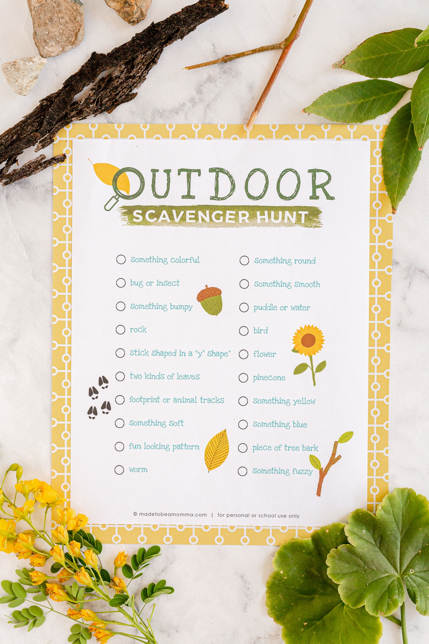 This Printable Outdoor Scavenger Hunt is a blast! Kids get to locate elements of nature and race to check off every item on their lis