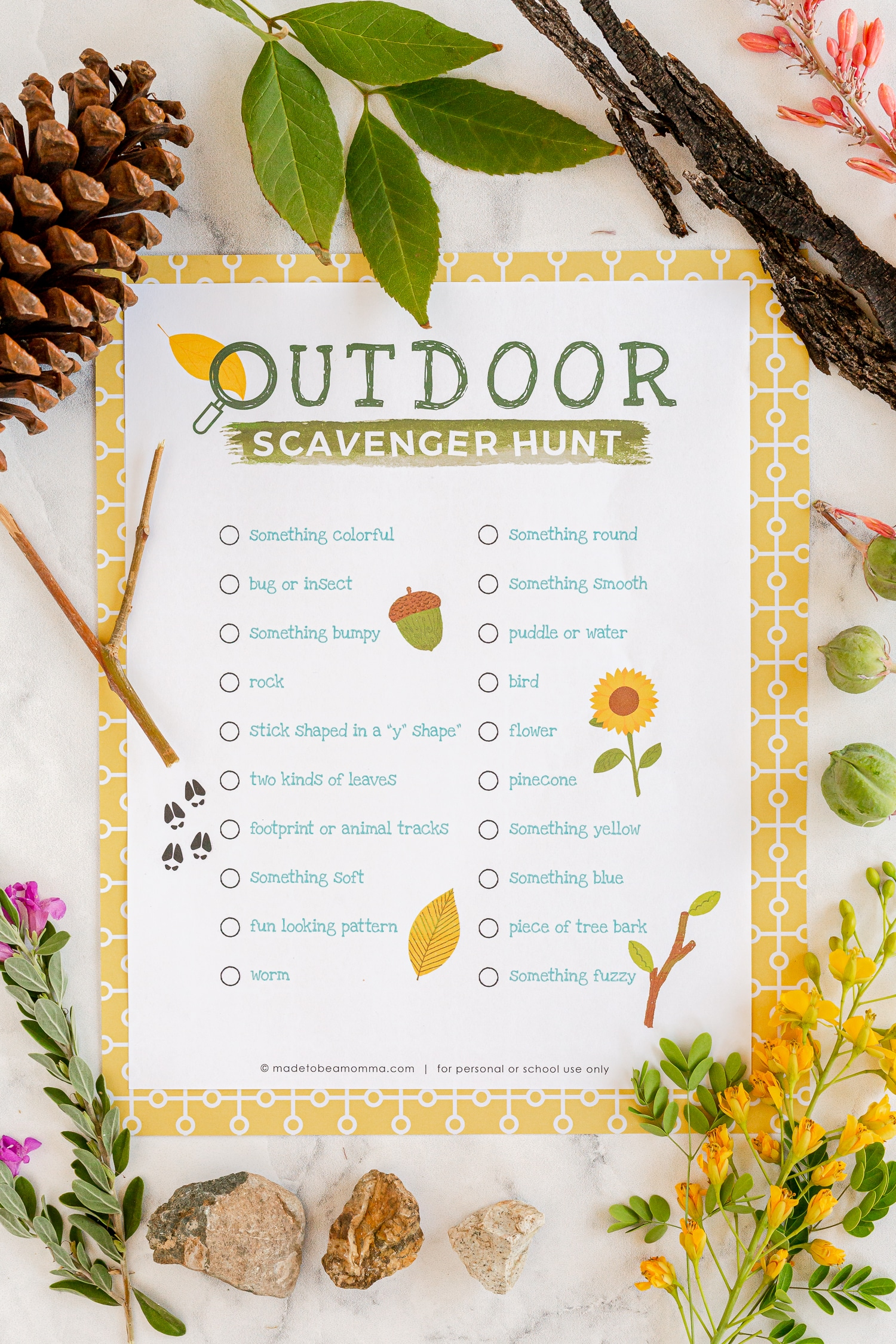 Outdoor Scavenger Hunt Printable surrounded by nature items