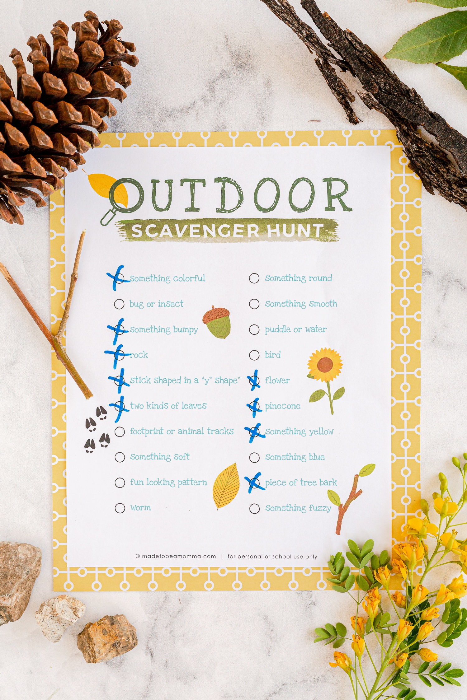 scavenger hunt printable with boxes marked off