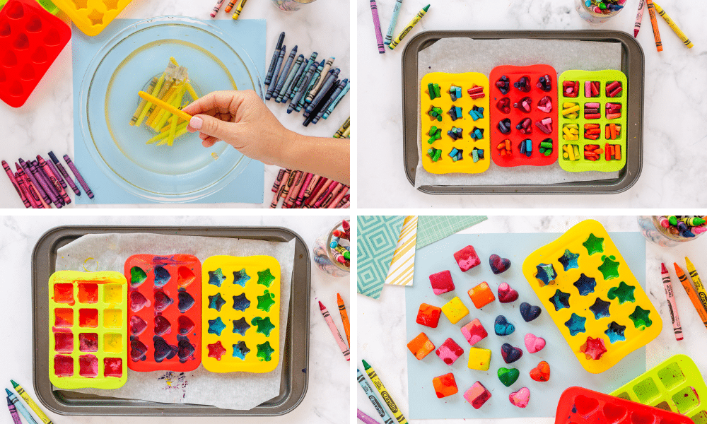 soak crayons in warm water, place in mold, melt in silicone, let cool and harden