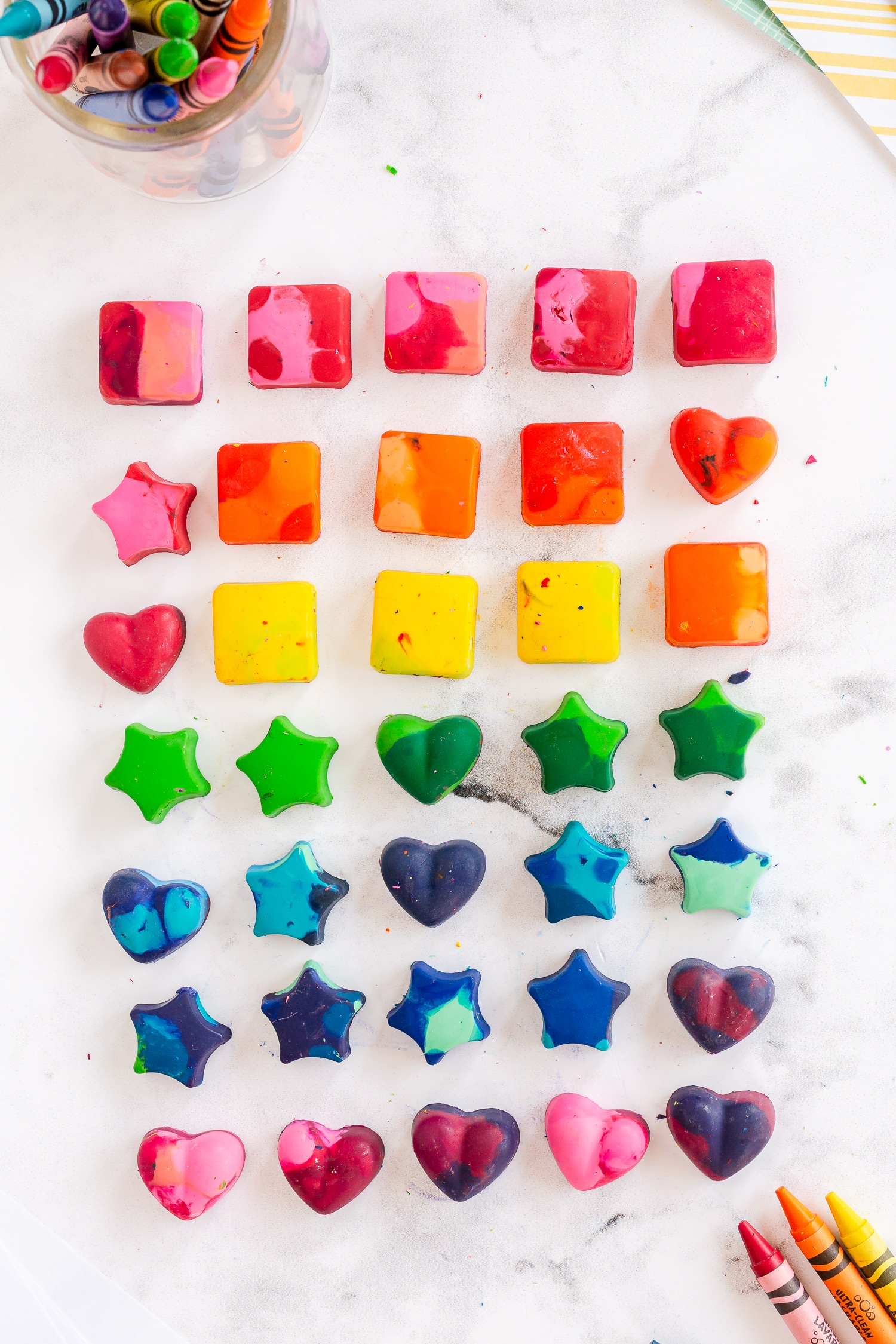 These DIY crayons are such a fun activity for the kids to repurpose some of their old and broken crayons into some fun new shapes ready for coloring!