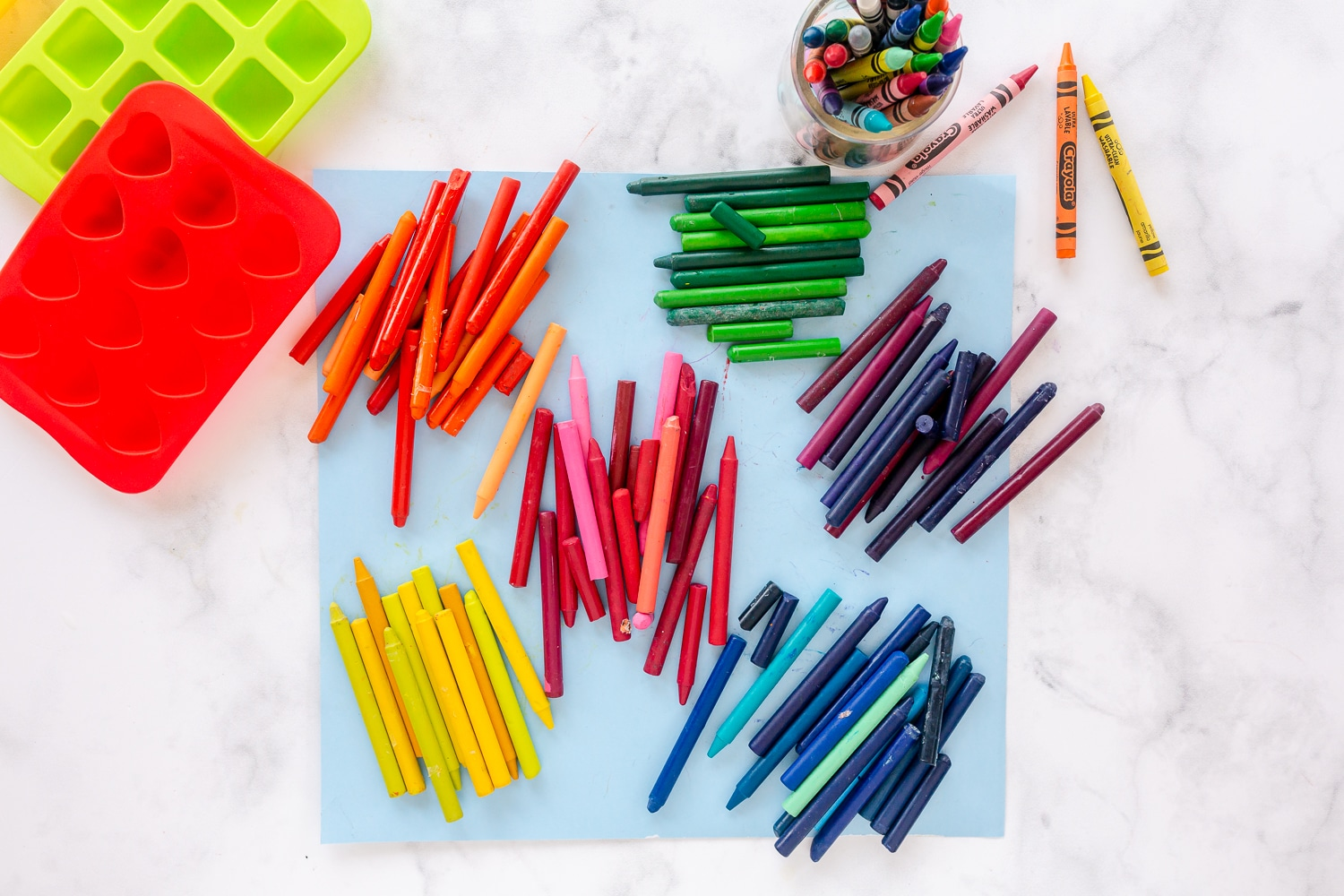 crayons with wrappers removed