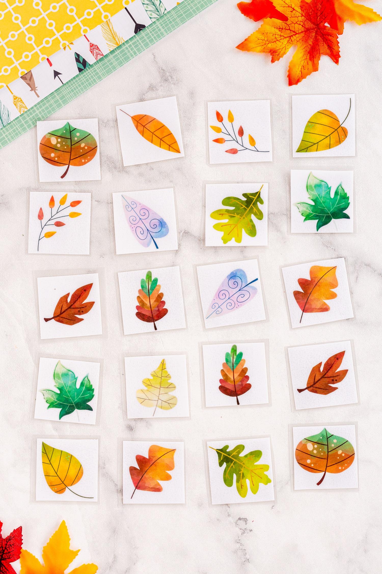 leaf matching game laminated
