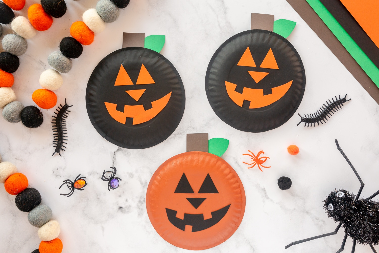 jack o lantern paper plate craft