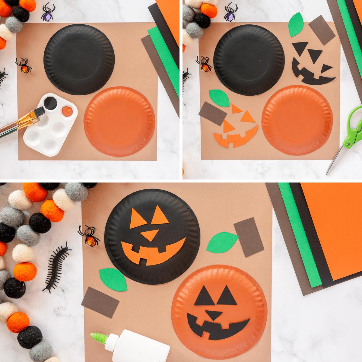 how to make paper plate pumpkins- jack o lantern