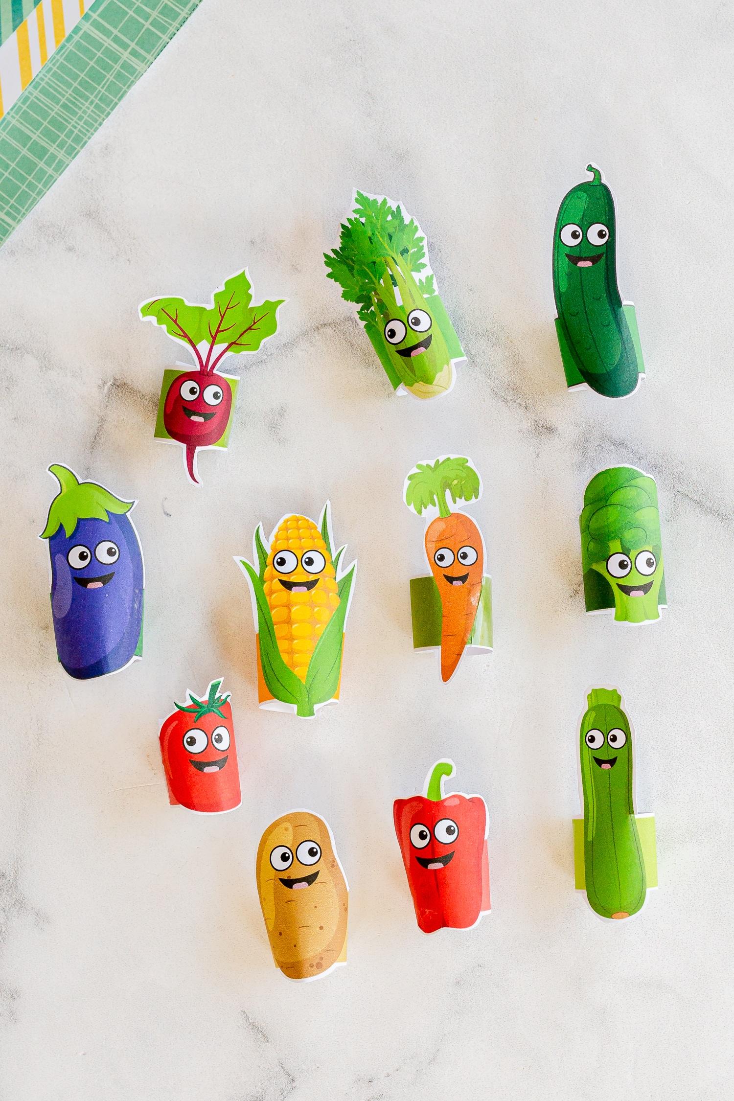 Printable Vegetable Finger Puppets