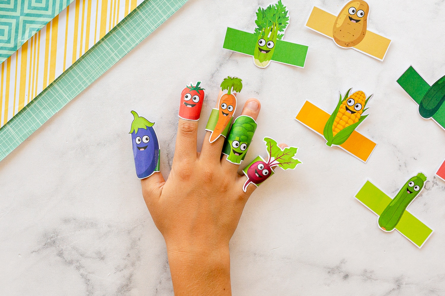 finger puppets fitted on childs fingers