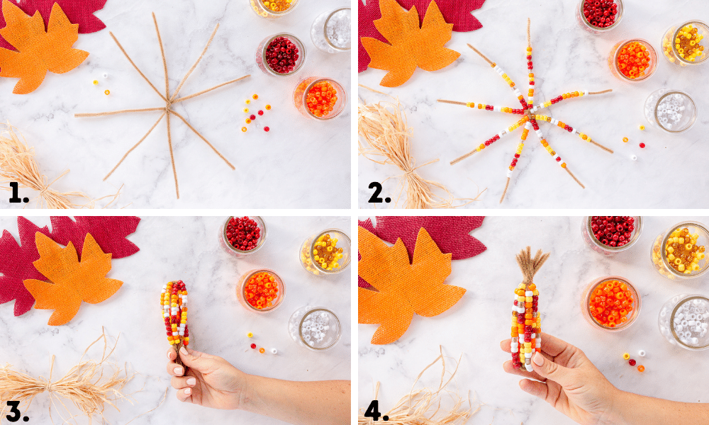 collage of how to make pipe cleaner beaded Indian corn