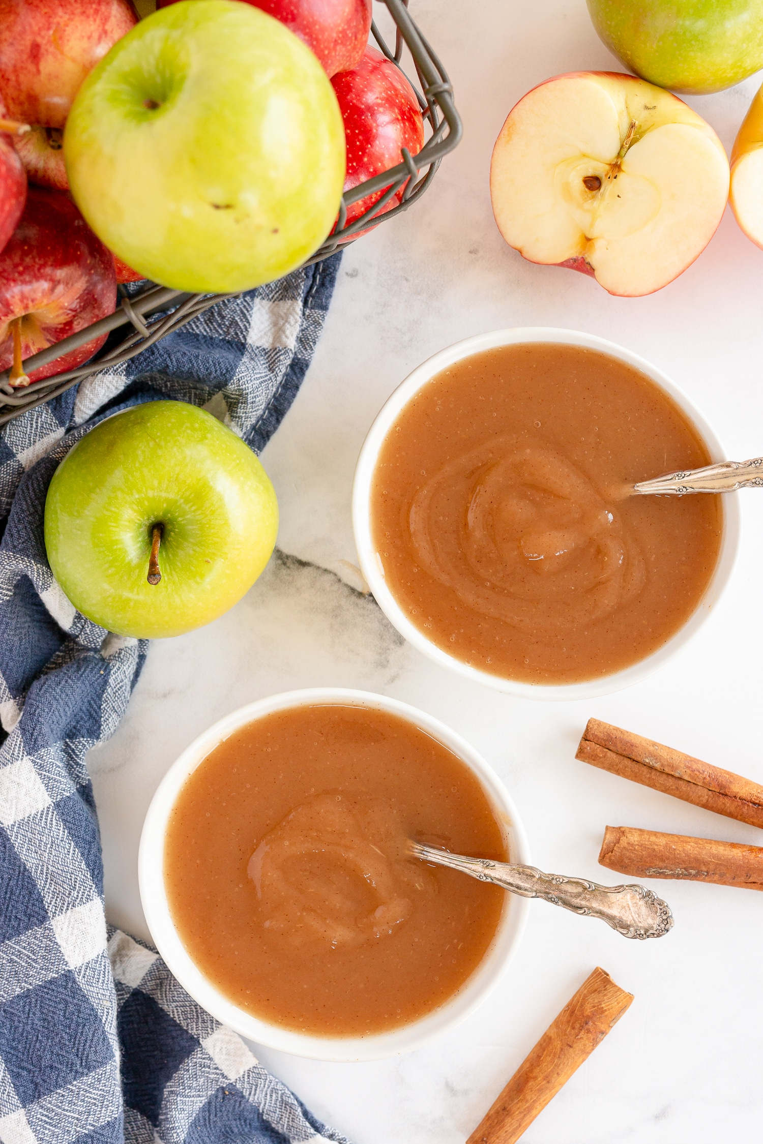 applesauce in serving bowl on kitchen counter