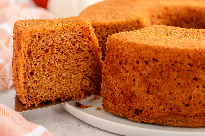 slice of pumpkin angel food cake