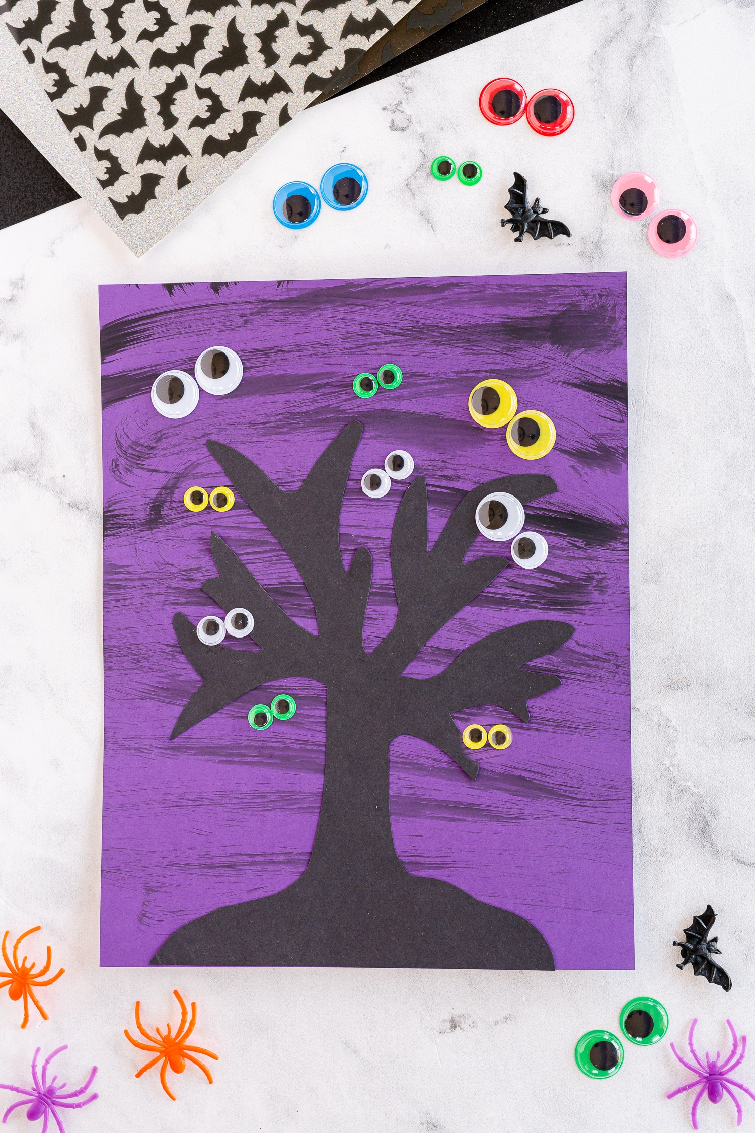 finished spooky halloween tree craft